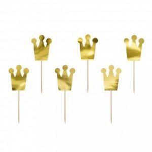 Party Deco cupcake topper prinsessenkroon goud 6 stuks KPM4-019M