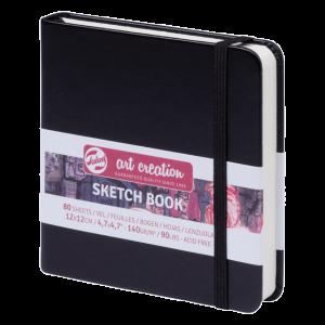 Art Creation schetsboek 12x12cm 80 vel wit 140gr. kleur black 9314004M