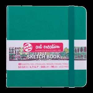 Art Creation schetsboek 12x12cm 80 vel wit 140gr. kleur forest green 9314334M