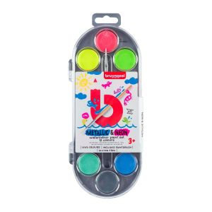 Bruynzeel Kids waterverf set 12 kleuren metallic en neon