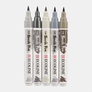 Ecoline Brush Pen grijstinten set 5