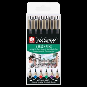 Sakura Pigma Brush 6-delige set POXSDKBR6