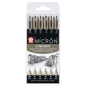 Sakura Pigma Micron set 6 fineliners zwart POXSDK6