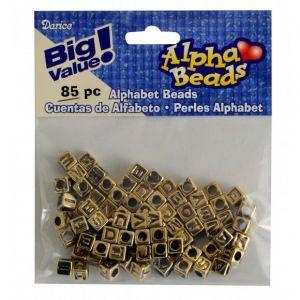 Letterkralen goudkleurig 6 mm 85st assorti