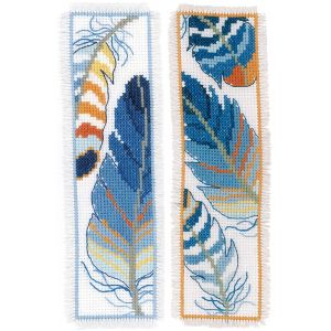 Vervaco Boekenlegger Blauwe veren set à 2 stuks PN-0170379